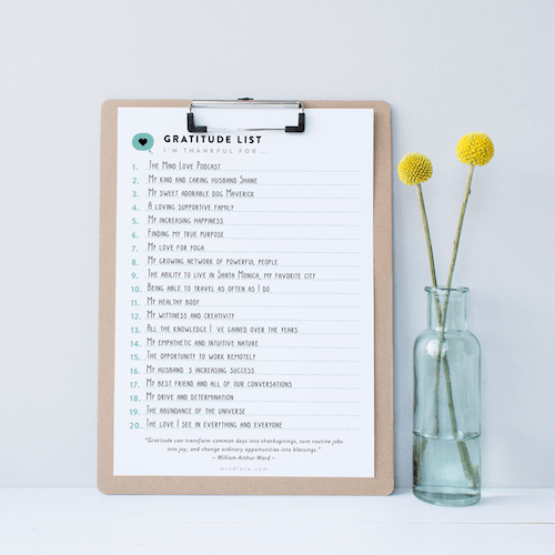 Gratitude List - Mind Love Power Lists
