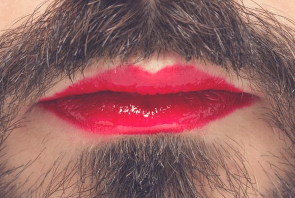 Man mustache lipstick transgender