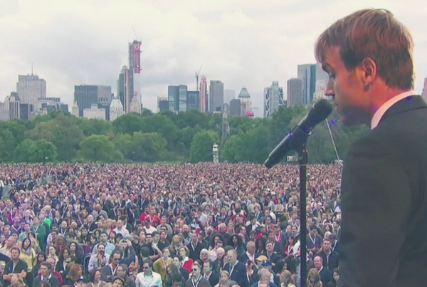Michael Trainer on stage at Global Citizen Festival